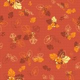 A nice seamless autumnal background. Flowers and leaves. royalty free illustration