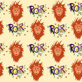 Nice seamless lions pattern for kids. With light background Stock Illustration