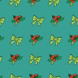 Nice seamless pattern. With snowflakes and christmas tree decorations / New Year theme seamless pattern with bows and mistletoe Royalty Free Stock Photos