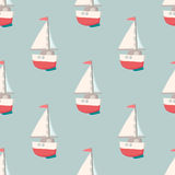 Nice seamless pattern with yacht. Nautical elements. Retro toys. Summer Travel Design - Sail Boat. Vector illustration Stock Images