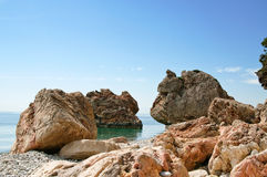 Nice seaside  with cliffs by summer. Royalty Free Stock Images