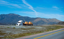 Nice semi truck white color cerry lamber cargo on step flat bed Royalty Free Stock Photos