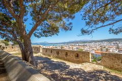 View from fortress on city. Nice senic view from the fortress in Rethymno, Greece / Crete royalty free stock photos