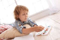 Nice serious boy holding a painting brush Royalty Free Stock Photos