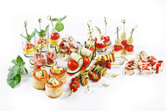 Nice set of canapes for one person with vegetables, cheese, frui Royalty Free Stock Images