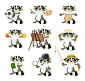 Nice set of cartoon raccoons Royalty Free Stock Image