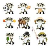 Nice set of cartoon raccoons Royalty Free Stock Image