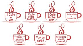 Set of coffee cups with sentences, isolated, in Italian. A nice set of cups that contain some phrases regarding coffee, some very funny. A project that can be royalty free illustration