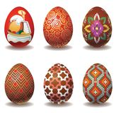Nice set of easter eggs. Six easter eggs with pattern Stock Images