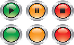 Nice set of glossy icons like buttons. Nice set of technological and web glossy icons with reflections royalty free illustration