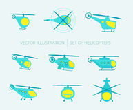 Nice set of helicopters for your design Stock Image