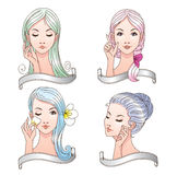 Nice set of icons of women beauty and care Royalty Free Stock Photography