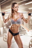Nice sexy woman doing workout with big dumbbell in gym, retouche. Nice sexy woman doing workout with big dumbbell over gym background, retouched Royalty Free Stock Photos