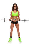 Nice sexy woman doing workout with big dumbbell  (retouched) Stock Image