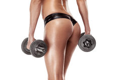 Nice sexy woman doing workout with dumbbell Royalty Free Stock Photo