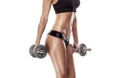 Nice sexy woman doing workout with dumbbell Royalty Free Stock Images