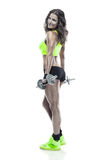 Nice sexy woman doing workout with dumbbell Royalty Free Stock Photography
