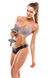 Nice sexy woman doing workout with dumbbell Stock Images
