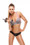Nice sexy woman doing workout with dumbbell Stock Photos