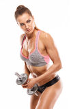 Nice sexy woman doing workout with dumbbell. Isolated over white background Stock Photo
