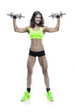 Nice sexy woman doing workout with dumbbell  (retouched) Stock Images