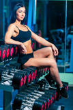 Nice sexy woman doing workout with dumbbells  in gym Royalty Free Stock Images