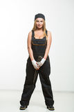 Nice sexy woman mechanic holding wrench isolated over white background Stock Photos
