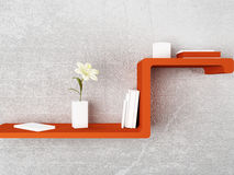 Nice shelf with the books and the vases, Stock Images