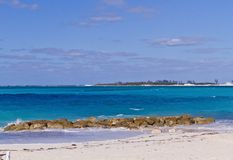 COSTAL SHOT OF ISLAND AND BLUE WATERS. Nice shot of vacation island costal view stock photo