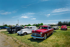 Nice side front view of old vintage classic cars Royalty Free Stock Photos