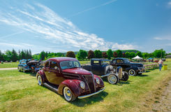 Nice side view of old vintage classic cars Royalty Free Stock Photo