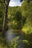 Nice silky water surface river on sunny summer day. Nice long exposure water surface of river lying in forest royalty free stock photos