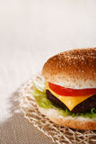 Nice and simple beef cheese burger. Shallow DOF Royalty Free Stock Photo