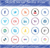 Sketch Social Media Badges - Circle version Stock Images