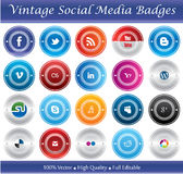 Vintage Social Media Badges stock illustration