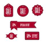 Nice simple  red labels and banners for promotion. Red simple flat vector labels and banners with texts: Sale, special offer, discount and 50 Stock Image