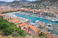 View upon Nice harbour in Southern France Stock Image
