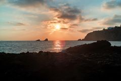 A sunset over Abalone Cove in Rancho Palos Verdes, California. stock photo