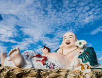 Nice sky and the Chinese god of happiness. Chinese God of Happiness, Wealth and Lucky Stock Photography