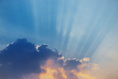 Nice sky sunset with sun rays Royalty Free Stock Image
