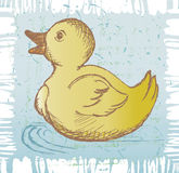 Nice small duckling. Grunge style Royalty Free Stock Image