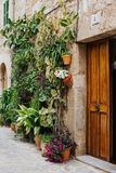 Nice small town at the Island of Mallorca. Beautiful Colors in Valdemossa at the Balearic Island Mallorca. Green Plants and wooden door Stock Photos