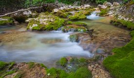 Nice small waterfall on mountain stream Stock Photo