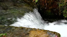 Nice small waterfall on mountain stream stock video