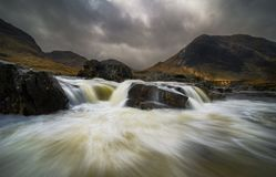 Dramatic sky over river Etive in Scotland Stock Image