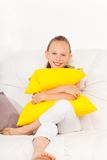 Nice smile and pillow Royalty Free Stock Images