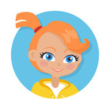 Nice Smiling Girl with Pigtail. Cartoon Style. Girl with red pigtail and forelock avatar userpic. Portrait of nice female person with blue eyes. White t-shirt Royalty Free Stock Photos