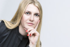 Nice Smiling Happy Blond Woman. Caucasian Appearance. Stock Photos