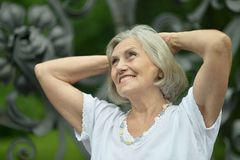 Nice smiling old woman Stock Image
