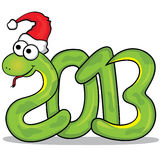 Nice snake with red cap. 2013 year. Vector illustration of the nice green snake with red cap. 2013 year Stock Photo